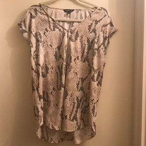 Express Snake Skin Print Blouse With Zipper Front